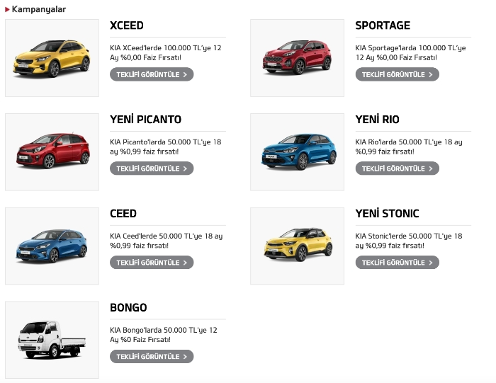 KIA Sıfır Araba Kampanyası Fiyatları